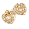 Large Hammered Heart Drop Clip On Earrings In Gold Tone - 60mm L