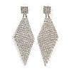 Long Clear Crystal Mesh Chandelier Earrings In Silver Tone - 70mm L