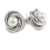 Polished Silver Tone Knot with Faux Pearl Bead Stud Earrings - 17mm D