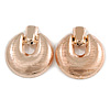 Large Round Textured Clip On Earrings In Rose Gold Tone - 60mm L