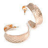 40mm Wide Hammered Rose Gold Hoop Earrings