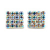 AB Crystal Square Stud Earrings In Silver Tone - 15mm