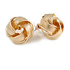Gold Tone Textured Knot Stud Earrings - 20mm D