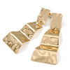 Contemporary Polished Hammered Wavy Drop Earrings In Gold Tone - 65mm Long