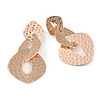 Rose Gold Hammered Triple Oval Link Drop Earrings - 60mm Long