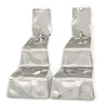 Contemporary Polished Hammered Wavy Drop Earrings In Silver Tone - 65mm Long