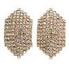 C Shape Clear Crystal Stud Earrings In Gold Tone - 30mm Long