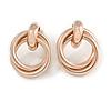 Double Interlocked Eternity Circle of Love Hoop Stud Earrings In Rose Gold Tone - 30mm Long