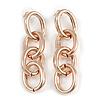 Polished Rose Gold Tone Chunky Oval Link Drop Earrings - 70mm Long