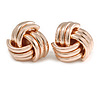 Polished Rose Gold Tone Knot Stud Earrings - 20mm D