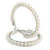 60mm Large White Faux Pearl Hoop Earrings In Silver Tone