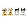 2 Pairs Of Crystal Owl Stud Earrings In Silver/ Gold Tone - 15mm L