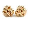 Polished Gold Tone Knot Stud Earrings - 20mm D