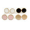 Set of 4 Pairs Button Stud Earrings In Gold Tone White/ Black/ Pink/ Gold - 10mm Diameter