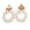 White Faux Pearl Hoop Earrings In Gold Tone - 60mm L