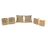 Set of 3 Pairs Crystal Square Stud Earrings In Gold Tone - 15mm/ 12mm/ 10mm D