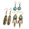 Set Of 3 Pairs Turquoise Bead Feather and Round Drop Earrings In Aged Gold Tone Metal - 60mm/ 55mm/ 30mm L