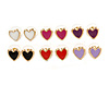 6 Pairs Enamel Multicoloured Heart Stud Earring Set In Gold Tone Metal - 10mm Tall