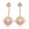 Bridal/ Cocktail/ Prom Clear Crystal, Milky White Glass Star Drop Earrings In Rose Gold - 70mm Long