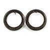 33mm Grey Crystal Circle Stud Earrings In Black Tone Metal