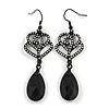 Romantic Crystal Rose Motif with Black Crystal Teardrop Earrings In Black Tone - 70mm Long