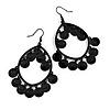 Black Sequin Oval Hoop Drop Earrings - 75mm Long