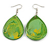 Green/ Yellow Teardrop Wood Drop Earrings - 60mm Long