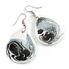White/ Black Teardrop Wood Drop Earrings - 60mm Long