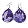 Purple/ White Teardrop Wood Drop Earrings - 60mm Long