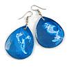 Blue/ White Teardrop Wood Drop Earrings - 60mm Long