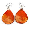 Orange Teardrop Wood Drop Earrings - 60mm Long