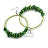 Large Green Glass, Shell, Wood Bead Hoop Earrings In Silver Tone - 75mm Long