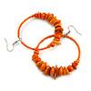 Large Orange Glass, Shell, Wood Bead Hoop Earrings In Silver Tone - 75mm Long