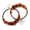 Large Brown Glass, Shell, Wood Bead Hoop Earrings In Silver Tone - 75mm Long