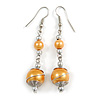 Gold-Yellow Glass Bead with Wire Drop Earrings In Silver Tone - 6cm Long