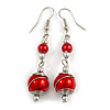 Red Glass Bead with Wire Drop Earrings In Silver Tone - 6cm Long