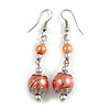 Peach Orange Glass Bead with Wire Drop Earrings In Silver Tone - 6cm Long