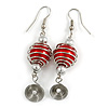 Red Glass Bead with Wire Element Drop Earrings In Silver Tone - 6cm Long