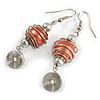 Orange Glass Bead with Wire Element Drop Earrings In Silver Tone - 6cm Long