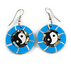 Round Blue Shell Yin Yang Drop Earrings - 45mm Long