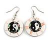 Round White Shell Yin Yang Drop Earrings - 45mm Long