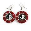 Round Red Shell Yin Yang Drop Earrings - 45mm Long