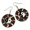 Round Brown Shell Yin Yang Drop Earrings - 45mm Long