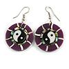 Round Purple Shell Yin Yang Drop Earrings - 45mm Long