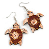 Funky Brown Wood Turtle Drop Earrings - 60mm Long