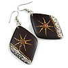 Dark Brown Diamond Drop Earrings - 65mm Long