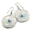 Mother of Pearl Floral Drop Earrings In Silver Tone - 50mm Long