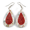 Teardrop Shell with Red Stone Inlay Earrings - 55mm Long
