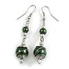 Forest Green Glass Bead with Wire Drop Earrings In Silver Tone - 6cm Long
