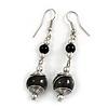 Black Glass Bead with Wire Drop Earrings In Silver Tone - 6cm Long